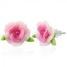 FIMO fülbevaló - rózsa és levelek