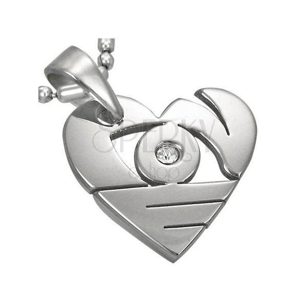 Medál sebészeti acélból ezüst színben, fényes szív kivágásokkal és cirkóniával