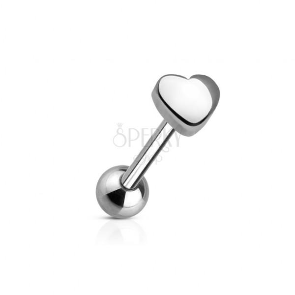 Nyelv piercing - kis szív alakú fejecske