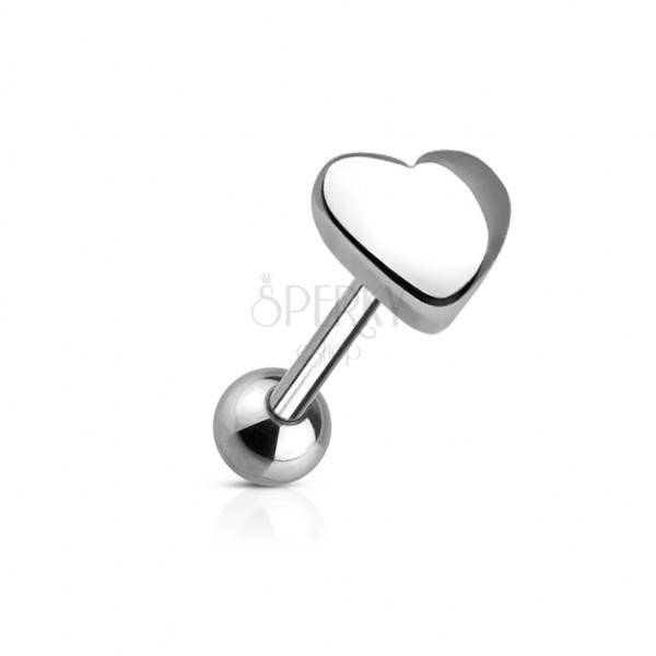 Nyelv piercing - nagy szív alakú fejecske