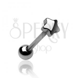 Nyelv piercing - kis csillag alakú fejecske