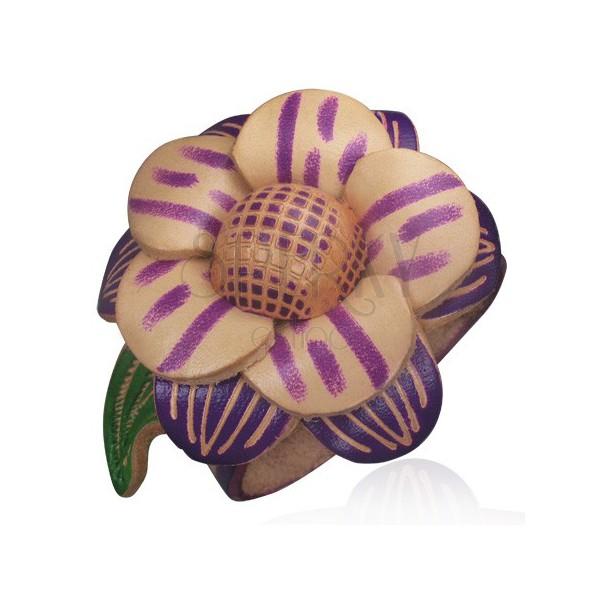 Bőr karkötő - lila, nagy virág