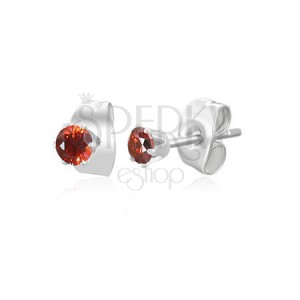 Acél fülbevaló - kis piros cikrónia kő