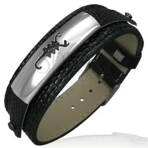 Műbőr karperec - fekete, acél tábla, skorpió