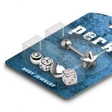 Nyelvpiercing készlet - többféle ezüst fejecske