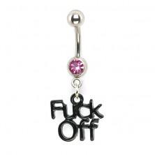 Köldök piercing - fekete Fuck Off logó