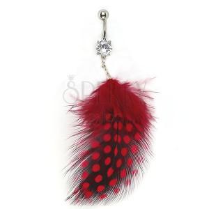 Köldök piercing - cirkónia, fekete és piros tollak