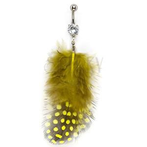 Köldök piercing - tollak fekete és sárga színben