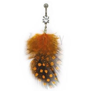 Köldök piercing - fekete és narancs tollak