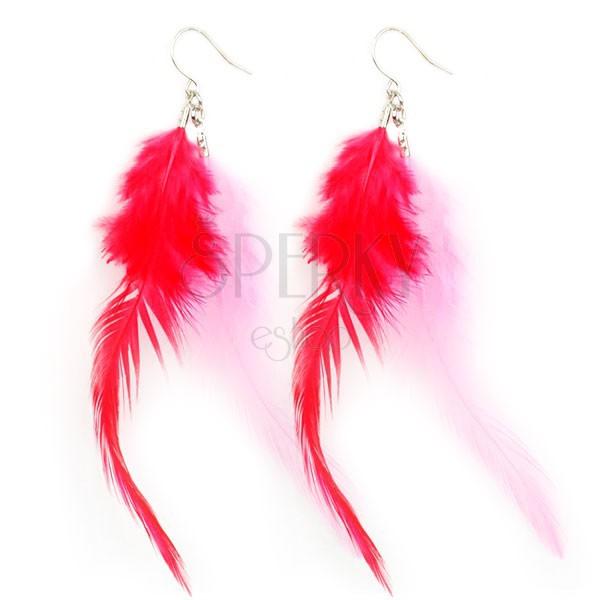 Fülbevaló - rózsaszín és piros tollak
