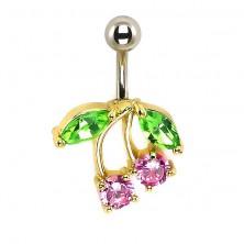 Köldök piercing - arany medál, színes cirkónia kövek