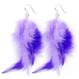 Akasztós fülbevaló - két lila toll