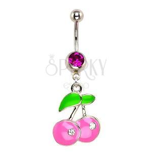 Köldök piercing - pasztell rózsaszín cseresznye, cirkónia kövek