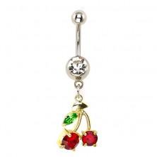 Köldök piercing - cseresznye, színes cirkóniák, arany felület