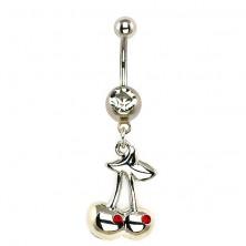 Acél köldök piercing - két ezüst cseresznye és cirkónia