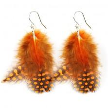Toll fülbevaló - fekete és narancs tollak