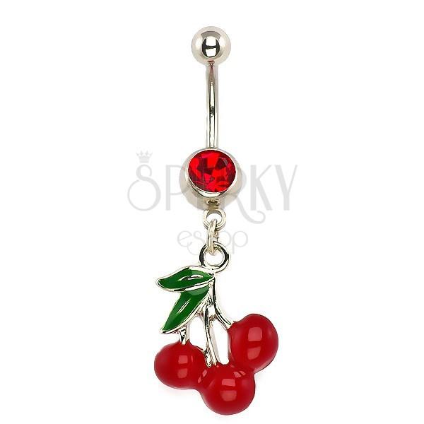 Köldök piercing - három cseresznye, piros cirkónia