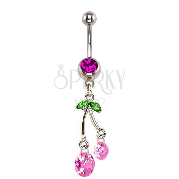 Köldök piercing - függő pink cseresznye, cirkónia