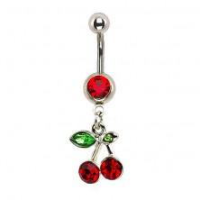 Köldök piercing - cseresznye, két levél, cirkónia
