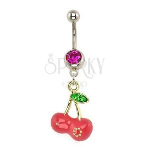 Nemesacél piercing - arany, rózsaszín cseresznye