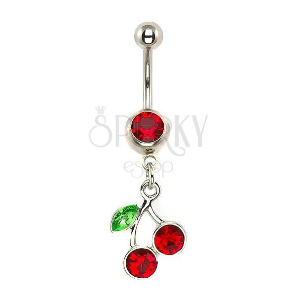 Köldök piercing - cseresznye, egy levél, cirkóniák