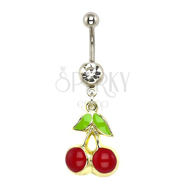 Acél köldök piercing - cseresznye arany alapon, tiszta cirkónia