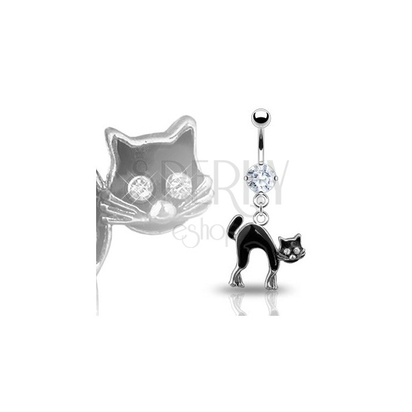Köldök piercing - fekete macska, cirkónia