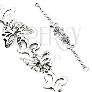 Acél karkötő - ezüst pillangók