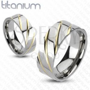 Gyűrű titániumból - ezüst, arany sávok