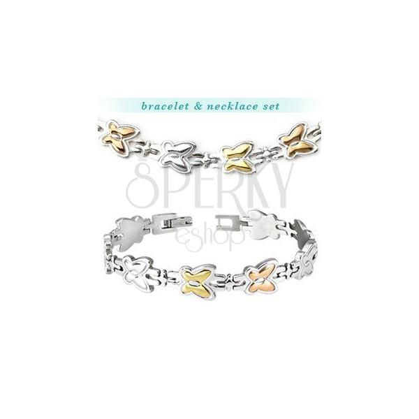 Acél nyaklánc és karkötő - két színű pillangók