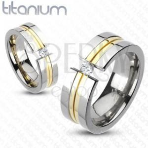 Titánium gyűrű - két arany csík, cirkónia