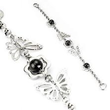 Acél karkötő - pillangók, virágok, gyöngyök