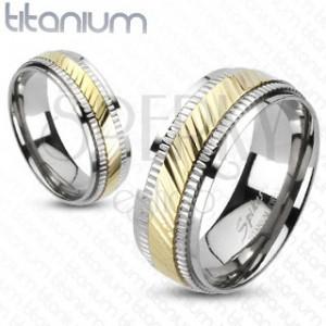 Gyűrű titániumból - kétszínű, sávozott