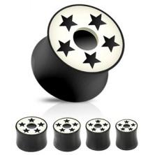 Fültágító dugó - fekete, fehér, csillagok