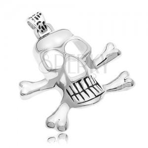 Sebészeti acél medál - kalóz koponya, ezüst szín