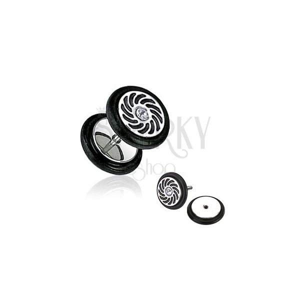 Hamis fül piercing - tiszta cirkónia kő, fekete sugarak