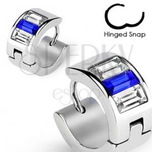 Acél fülbevaló - ezüst, kék és átlátszó cirkóniák