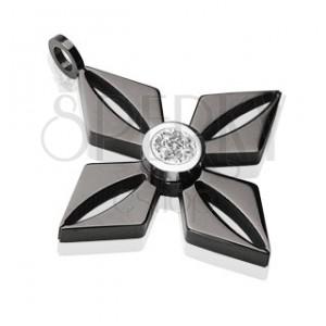 Medál fekete sebészeti acélból, virág alakban