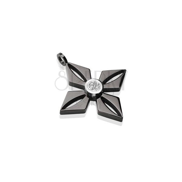 Medál fekete sebészeti acélból - virág csillogó átlátszó cirkóniával