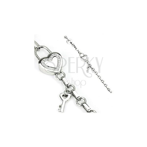 Nemesacél karkötő - lánc, szív és kulcs