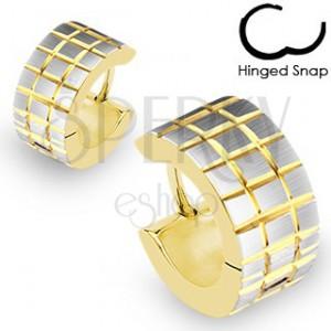 Nemesacél karika fülbevaló - bemart arany négyzetek