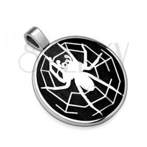 Medál acélból - fekete körlap, fehér pók és pókháló
