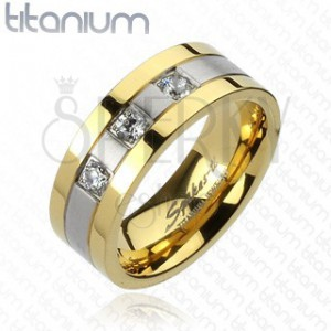 Titánium gyűrű - arany - ezüst, három cirkónia