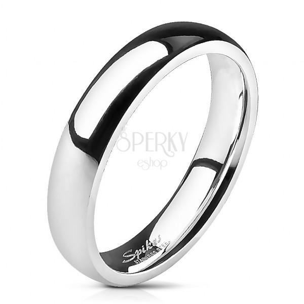 Nemesacél jegygyűrű - ezüst, sima, 4 mm