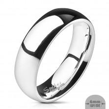 Nemesacél jegygyűrű - ezüst, sima, fényes, 6 mm