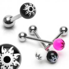 Nyelv piercing nemesacélból - színes golyócska, csillag