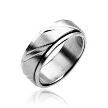 Gyűrű nemesacélból - kétrészes,ezüst, gravírozott