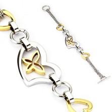 Kétszínű karkötő - arany és ezüst szivecskék, pillangó