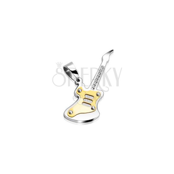 Gitár alakú medál acélból - arany mintázat, tiszta cirkóniák