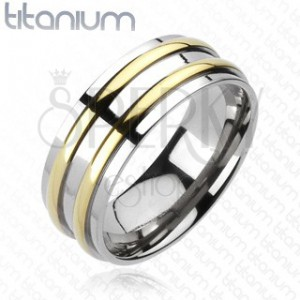 Titánium karikagyűrű - ezüst, két arany sávval